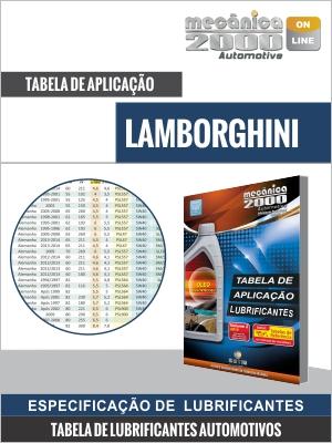 Tabela de aplicação de lubrificantes de motores LAMBORGHINI
